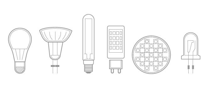 Bild von den Lampenarten, mit denen die digitalen Zeitschaltuhren kompatibel sind.